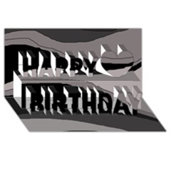 Black and gray design Happy Birthday 3D Greeting Card (8x4)