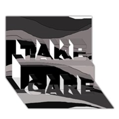 Black and gray design TAKE CARE 3D Greeting Card (7x5)