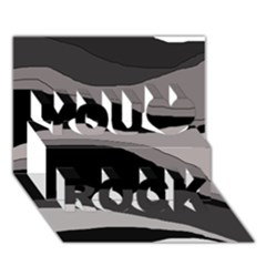 Black and gray design You Rock 3D Greeting Card (7x5)