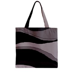 Black and gray design Zipper Grocery Tote Bag