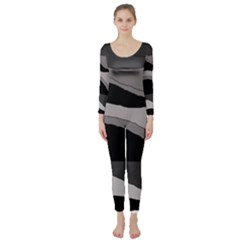 Black and gray design Long Sleeve Catsuit