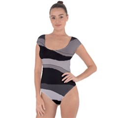 Black and gray design Short Sleeve Leotard