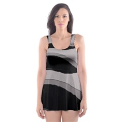 Black and gray design Skater Dress Swimsuit