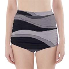 Black and gray design High-Waisted Bikini Bottoms
