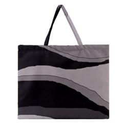 Black And Gray Design Zipper Large Tote Bag