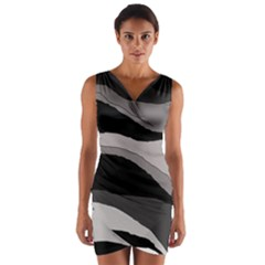 Black And Gray Design Wrap Front Bodycon Dress