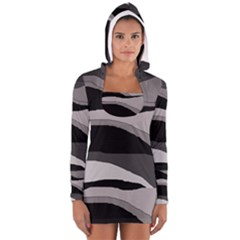 Black and gray design Women s Long Sleeve Hooded T-shirt