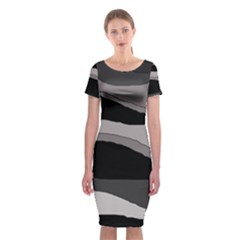 Black and gray design Classic Short Sleeve Midi Dress