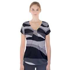 Black and gray design Short Sleeve Front Detail Top