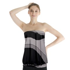 Black And Gray Design Strapless Top