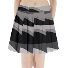 Black And Gray Design Pleated Mini Mesh Skirt(p209)