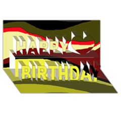 Decorative abstract design Happy Birthday 3D Greeting Card (8x4)