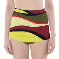 Decorative abstract design High-Waisted Bikini Bottoms