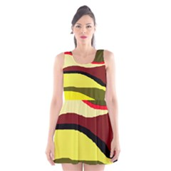 Decorative Abstract Design Scoop Neck Skater Dress