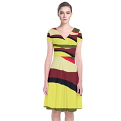 Decorative Abstract Design Short Sleeve Front Wrap Dress
