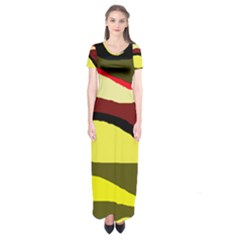 Decorative abstract design Short Sleeve Maxi Dress