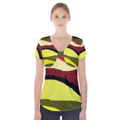 Decorative abstract design Short Sleeve Front Detail Top