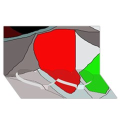 Colorful abstraction Twin Heart Bottom 3D Greeting Card (8x4)