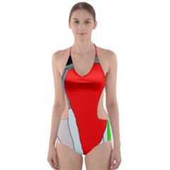 Colorful abstraction Cut-Out One Piece Swimsuit