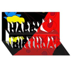 Red abstraction Happy Birthday 3D Greeting Card (8x4)