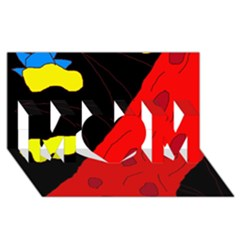Red abstraction MOM 3D Greeting Card (8x4)