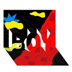 Red abstraction BOY 3D Greeting Card (7x5)