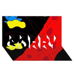 Red abstraction SORRY 3D Greeting Card (8x4)