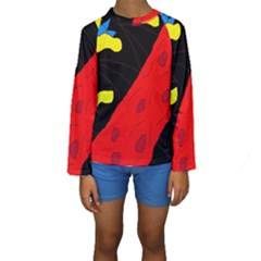 Red abstraction Kid s Long Sleeve Swimwear