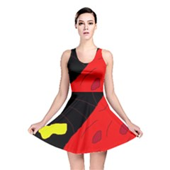 Red abstraction Reversible Skater Dress