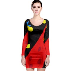 Red abstraction Long Sleeve Bodycon Dress