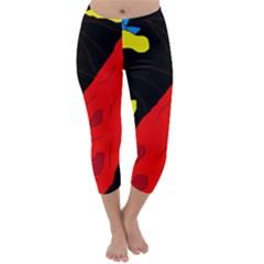 Red abstraction Capri Winter Leggings