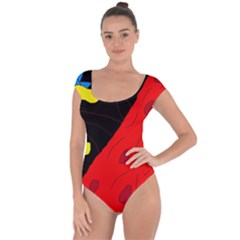 Red abstraction Short Sleeve Leotard