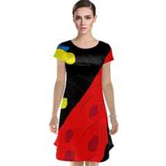 Red abstraction Cap Sleeve Nightdress