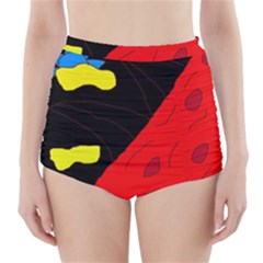 Red abstraction High-Waisted Bikini Bottoms