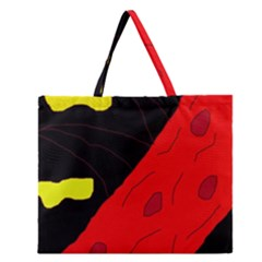 Red Abstraction Zipper Large Tote Bag