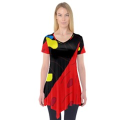Red Abstraction Short Sleeve Tunic