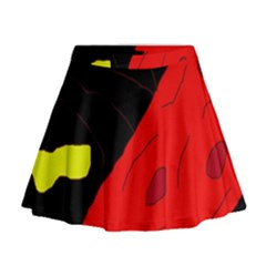 Red abstraction Mini Flare Skirt