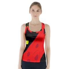 Red abstraction Racer Back Sports Top