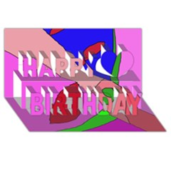 Pink abstraction Happy Birthday 3D Greeting Card (8x4)