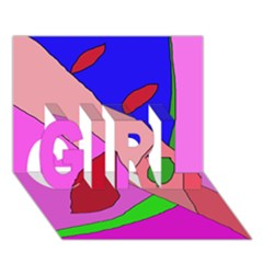 Pink abstraction GIRL 3D Greeting Card (7x5)
