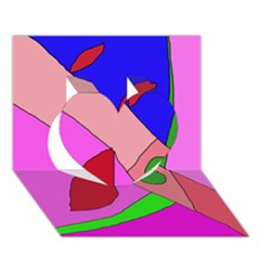 Pink abstraction Heart 3D Greeting Card (7x5)