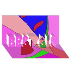 Pink abstraction BEST SIS 3D Greeting Card (8x4)