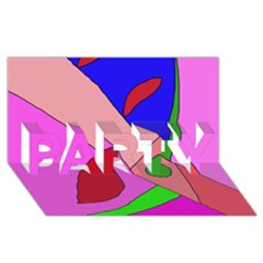 Pink abstraction PARTY 3D Greeting Card (8x4)