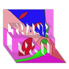 Pink abstraction THANK YOU 3D Greeting Card (7x5)