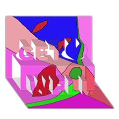Pink abstraction Get Well 3D Greeting Card (7x5)