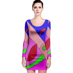 Pink abstraction Long Sleeve Bodycon Dress