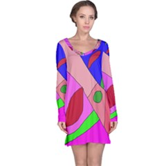 Pink abstraction Long Sleeve Nightdress