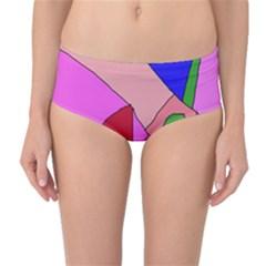 Pink abstraction Mid-Waist Bikini Bottoms