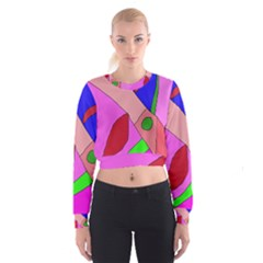 Pink abstraction Women s Cropped Sweatshirt