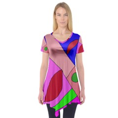 Pink abstraction Short Sleeve Tunic